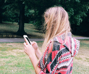 girl, blonde, and cellphone image