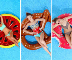 summer, donut, and pool image