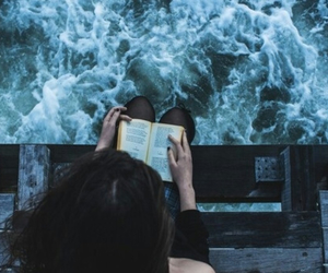 book, pier, and waves image