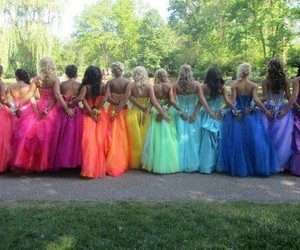 dress, rainbow, and colorful image