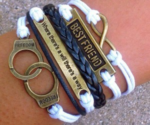best friends, blue, and bracelet image