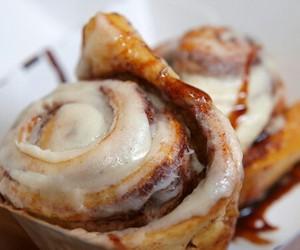 food, cinnamon roll, and cinnamon buns image