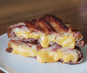 cheese, food, and bacon image