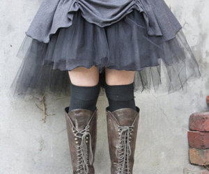 boots, skirt, and grey image