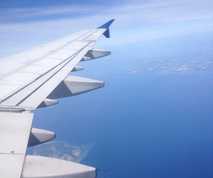 air, airplane, and blue image