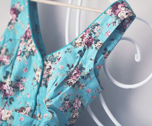 dress, blue, and floral image