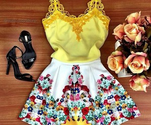 dress, shoes, and yellow image