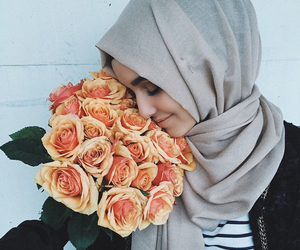 hijab, flowers, and islam image