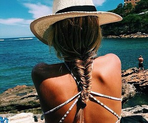 braid, girl, and hat image