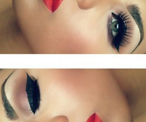 eyebrows, makeup, and red image