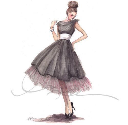 Art Drawing Dress Fashion Girl Inspiring Picture On
