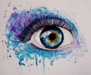 eye, art, and watercolour image