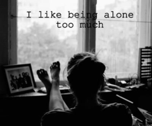 alone, black and white, and quote image