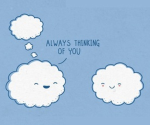 clouds, thinking, and thoughts image