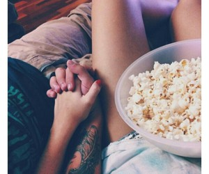 couple, love, and popcorn image