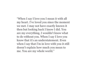 I Love You, love quotes, and My World image