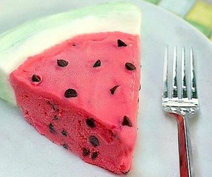 food, watermelon, and cake image