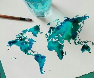world, blue, and art image