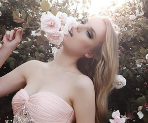 blond, girl, and flowers image