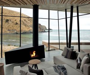 beach, fireplace, and interior image