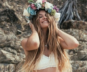 fashion, flowers, and long hair image