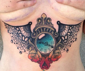tattoo, ink, and clock image