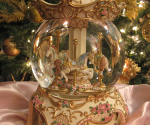 carousel, horse, and christmas image