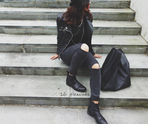 bag, black, and girl image