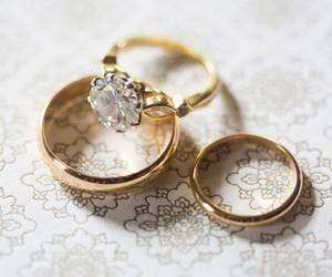 bride, gold, and groom image
