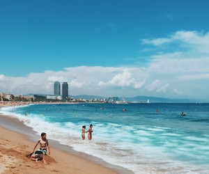 Barcelona, beach, and people image