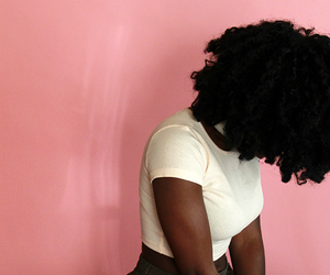 Afro, black woman, and pink image