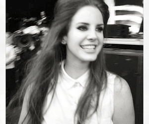 lana del rey, smile, and black and white image
