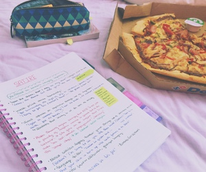 notebook, pizza, and room image