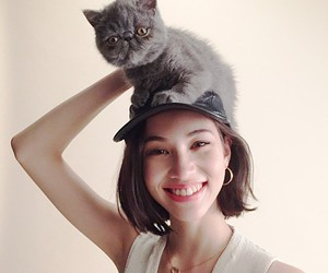 asian girl, cat, and Japan Girl image