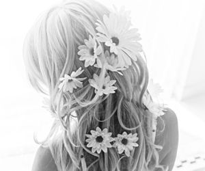 flowers, hair, and woman image