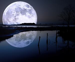 moon, night, and water image