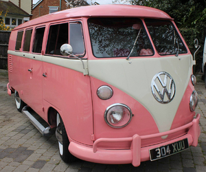 bus, pink, and vw image