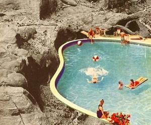 pool, summer, and vintage image