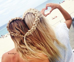 hair, heart, and beach image
