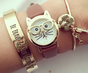 cat, watch, and gold image