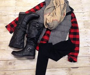 boots, fashion, and flannel image