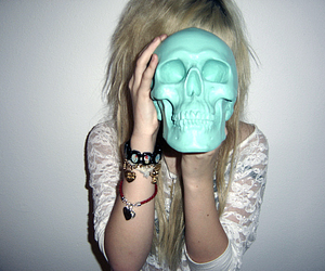 skull, girl, and blonde image