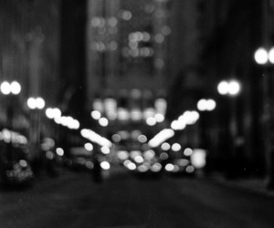 city, black and white, and light image
