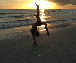 beach, fitness, and gymnast image