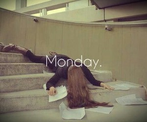monday, school, and tired image