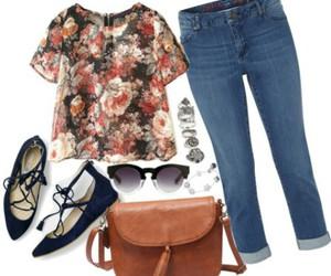 bag, brown, and flower print image