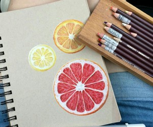 art, drawing, and fruit image
