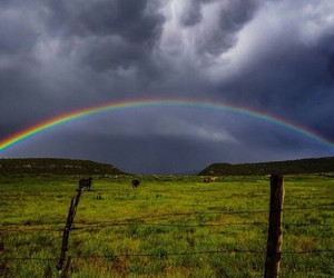 fields, rainbow, and wide open image