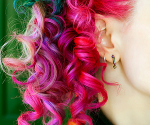 colorful hair, green hair, and me image