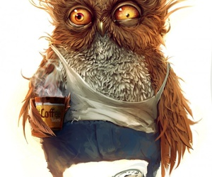 owl, coffee, and art image